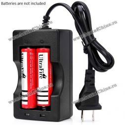OEM Durable 2 Slots Li-ion Battery Charger for 18650 Batteries with US Plug - AC 110V-240V