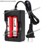OEM Durable 2 Slots Li-ion Battery Charger for 18650 Batteries with US Plug - AC 110V-240V
