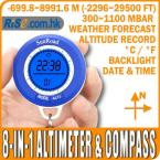 Digital Barometer 8 in 1 Thermometer -699~8991m Altitude LCD Compass Altimeter