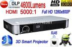 New 8GB DLP 4600 Lumens 3D WiFi Smart Projector Home Theater Projector VGA HDMI USB AV SD LAN Portable Projector