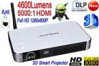 New DLP 8GB Full HD 1280*800P Definition Digital Home Theater Projector LAN 4600 lumens WiFi 3D Smart Projector