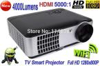 2014 New 4000 lumens Android 4.2 TV WiFi Smart Projector Full HD 1280*800P Digital Video Home Theater Projector
