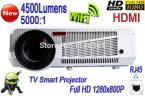 New White 4500 Lumens WiFi LAN HD 1080P Android 4.2 Smart Projector Home Theater Game TV Projector
