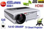 New High Brightness 4500 Lumens Full H 1280*800 Home Theater Digital Video Smart Projector WiFi TV Android 4.2 Projector