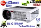 2014 New LCD Dual-Core WiFi Smart Projector 4500 lumens HD 1080P LAN TV Teaching Family Projector