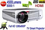 2014 New 4500 Lumens Wifi RJ45 TV Android 4.2 Smart Projector
