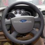 Black Genuine Leather Steering Wheel Cover for Ford Focus 2 2005-2011