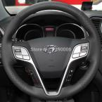 Steering Wheel Cover for 2013 Hyundai Santa Fe Car Special Hand-stitched Black Genuine Leather Covers