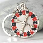 Spinning Russian Roulette Keychain Creative Casino Props Keyring Key Chain Ring Key fob Key Holder