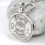 Practical Calendar Keychain Creative 3D Fifty Years From 2007 To 2056 Sun and Moon Key Chain Ring Keyfob Keyring