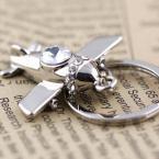 M86103 Creative Polished Silver Crystal Aircraft Airplane Keychain Key Chain Ring Keyfob Keyring