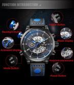 WEIDE мужские водонепроницаемые часы с цифровым светодиодным дисплеем, календариком и кожаным ремешком.