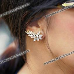 Chic Solid Color Faux Gem Embellished Women's Ear Cuff  ONE PIECE (AS THE PICTURE)