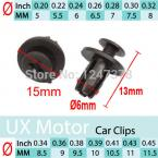 100 pcs/lot 6mm Dia Door Trim Panel Black Plastic Rivet Clip Fastener for Car
