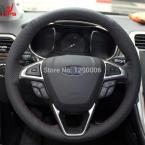 Black Leather Steering Wheel Cover for Ford Mondeo 2013 2014