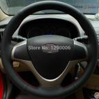 Black Leather Steering Wheel Cover for Hyundai i30 2009 i30