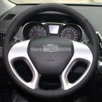 Black Leather Steering Wheel Cover for Hyundai ix35