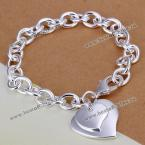 Trendy Double Hearts Pendant Thick Bracelet