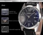 AGENTX AGX003 мужские кварцевые часы с круглым циферблатом, календариком и ремешком из натуральной кожи.