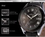 AGENTX AGX041 мужские кварцевые часы с круглым циферблатом, календариком и ремешком из натуральной кожи.