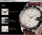 AGENTX AGX008 мужские кварцевые часы с круглым циферблатом, календариком и ремешком из натуральной кожи.