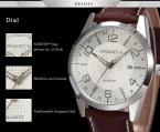 AGENTX AGX004 мужские кварцевые часы с круглым циферблатом, календариком и ремешком из натуральной кожи.