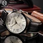 AGENTX AGX005 мужские кварцевые часы с большим циферблатом, календариком и ремешком из натуральной кожи.