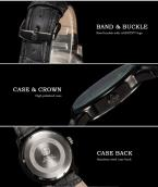 AGENTX AGX082 мужские водонепроницаемые часы с круглым циферблатом и кожаным ремешком.