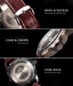 AGENTX AGX009 мужские кварцевые часы с круглым циферблатом, календариком и ремешком из натуральной кожи.