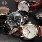 AGENTX AGX020 мужские кварцевые часы с круглым циферблатом, календариком и ремешком из натуральной кожи.