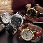 AGENTX AGX018 мужские кварцевые часы с японским механизмом, круглым золотистым циферблатом и ремешком из натуральной кожи.