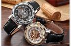 KS081 мужские водонепроницаемые часы с оригинальным циферблатом, римскими цифрами, указывающими время и кожаным ремешком.