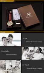 KS105 мужские водонепроницаемые часы с оригинальным золотистым циферблатом и коричневым кожаным ремешком.