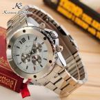 KS051 мужские водонепроницаемые часы с круглым циферблатом, календариком и ремешком из нержавеющей стали.