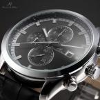 KS197 водонепроницаемые мужские часы с большим циферблатом, календариком и кожаным ремешком.