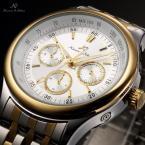 KS210 водонепроницаемые мужские часы с круглым циферблатом, календариком и ремешком из нержавеющей стали.