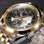 KS204 мужские водонепроницаемые часы с большим циферблатом, календариком и ремешком из нержавеющей стали.