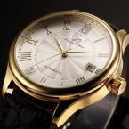 KS241 мужские водонепроницаемые часы с круглым золотистым циферблатом, римскими цифрами, указывающими время, календариком и кожаным ремешком.