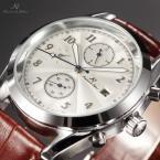 KS175 водонепроницаемые мужские часы с круглым циферблатом, календариком и кожаным ремешком.