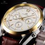 KS170 мужские водонепроницаемые часы с круглым золотистым циферблатом и кожаным ремешком.