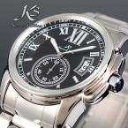 KS064 мужские водонепроницаемые часы с круглым циферблатом, календариком и ремешком из нержавеющей стали.