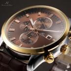 KS198 мужские водонепроницаемые часы с круглым циферблатом, календариком и кожаным ремешком.