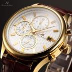 KS153 водонепроницаемые мужские часы с круглым циферблатом, календариком и кожаным ремешком.