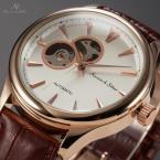 KS300 мужские водонепроницаемые часы с круглым циферблатом и кожаным ремешком.
