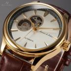 KS301 водонепроницаемые мужские часы с круглым золотистым циферблатом и кожаным ремешком.