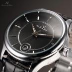 KS261 мужские водонепроницаемые часы с круглым циферблатом, календариком и кожаным ремешком.
