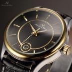 KS262 водонепроницаемые мужские часы с круглым циферблатом, календариком и кожаным ремешком.