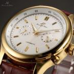 KS182 мужские водонепроницаемые часы с круглым циферблатом, полосками, указывающими время и кожаным ремешком.