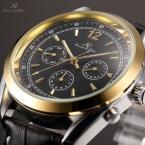KS172 мужские водонепроницаемые часы с большим золотистым циферблатом и кожаным ремешком.