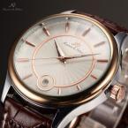 KS263 водонепроницаемые мужские часы с круглым циферблатом, полосками, указывающими время и кожаным ремешком.